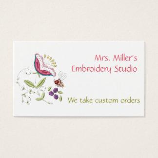 Estampado de flores bordado del bordado de la tarjeta de negocios