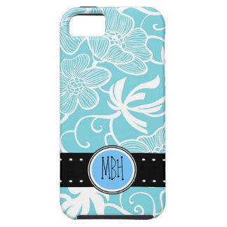 Estampado de flores brillante del azul de cielo pe iPhone 5 Case-Mate coberturas