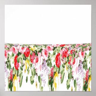 Estampado de flores brillante rosado femenino del póster