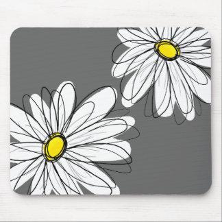 Estampado de flores caprichoso en gris amarillo alfombrilla de raton