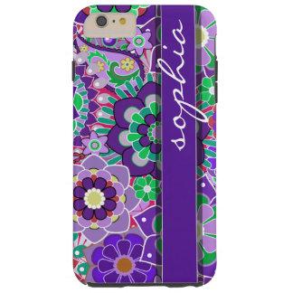 Estampado de flores colorido con nombre - funda para iPhone 6 plus tough