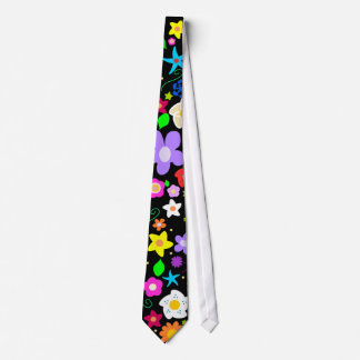 Estampado de flores colorido contemporáneo corbata