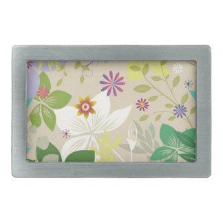 Estampado de flores colorido de la primavera hebilla cinturon rectangular