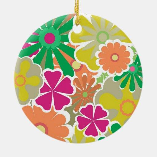 Estampado de flores colorido ornaments para arbol de navidad
