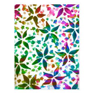 Estampado de flores colorido del arco iris de la tarjeta postal