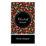 Estampado de flores colorido del diseñador de la f plantillas de tarjetas de visita