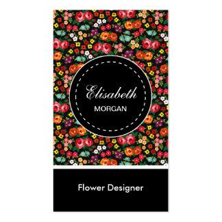 Estampado de flores colorido del diseñador de la tarjetas de visita