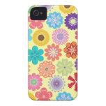 Estampado de flores colorido del flower power feme Case-Mate iPhone 4 protector