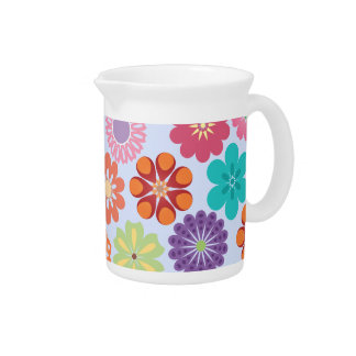 Estampado de flores colorido del flower power feme jarra de beber