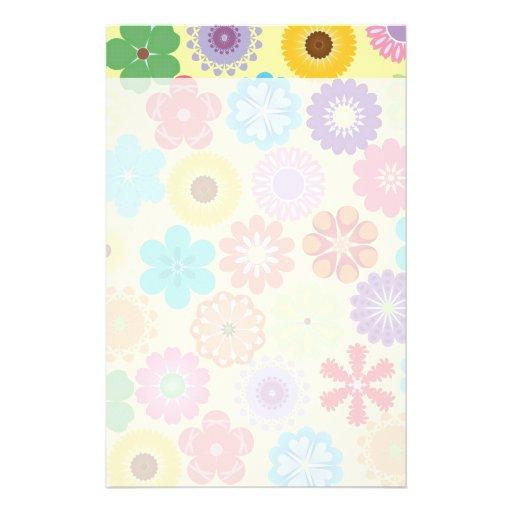 Estampado de flores colorido del flower power feme papelería personalizada