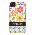 estampado de flores colorido del hippie lindo Case-Mate iPhone 4 coberturas