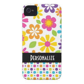 estampado de flores colorido del hippie lindo Case-Mate iPhone 4 carcasa