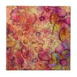 Estampado de flores colorido del vintage azulejo cerámica