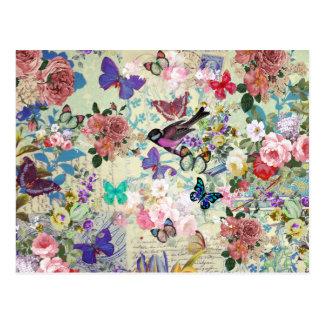 Estampado de flores colorido del vintage de las postales