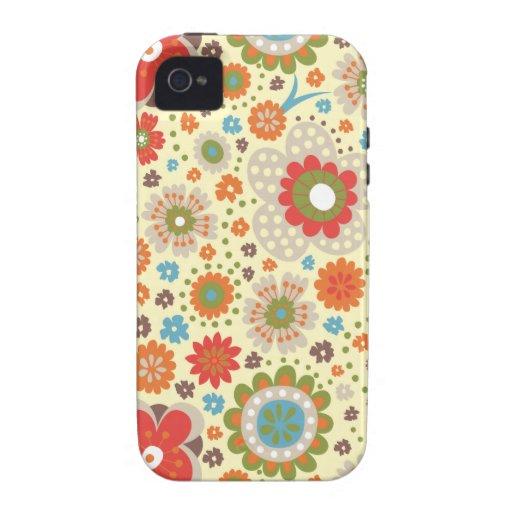 Estampado de flores colorido del vintage Case-Mate iPhone 4 funda