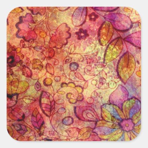 Estampado de flores colorido del vintage pegatina cuadrada