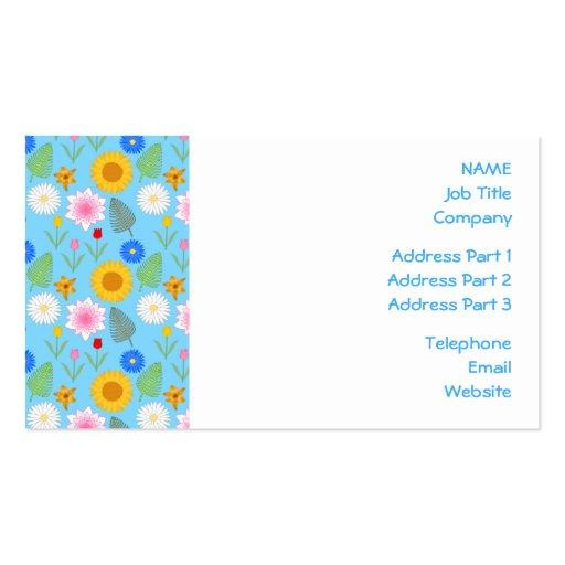 Estampado de flores colorido en azul tarjetas de visita