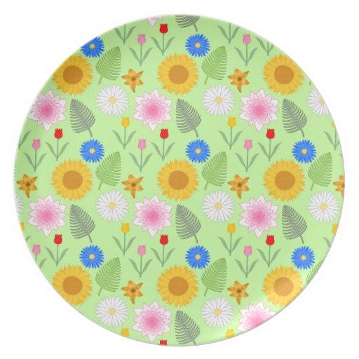 Estampado de flores colorido en verde de la menta plato de cena