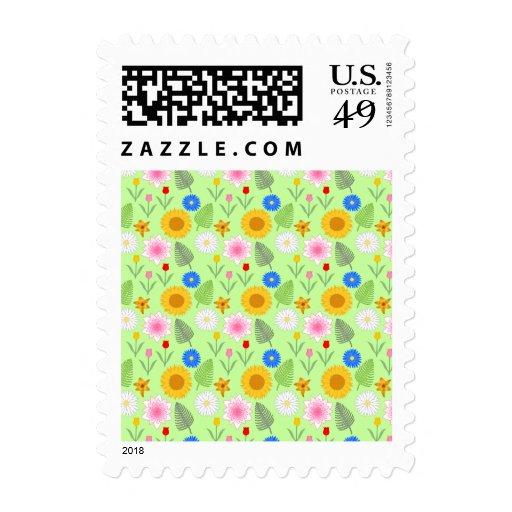 Estampado de flores colorido en verde de la menta sello