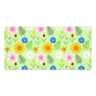 Estampado de flores colorido en verde de la menta tarjetas fotograficas personalizadas