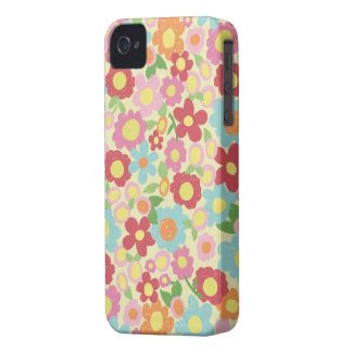 Estampado de flores colorido incompleto iPhone 4 Case-Mate cobertura