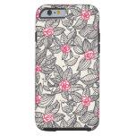 Estampado de flores con los pájaros del dibujo funda de iPhone 6 tough