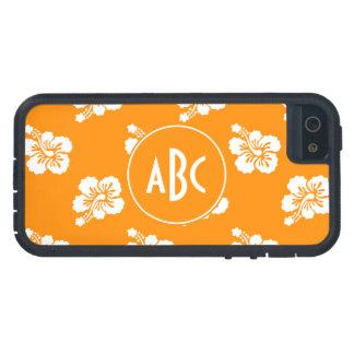 Estampado de flores con monograma del naranja y iPhone 5 protector