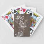 Estampado de flores de Brown oscuro Baraja Cartas De Poker