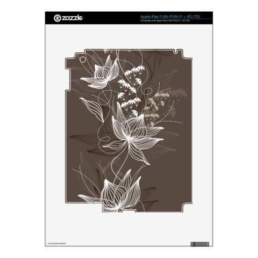 Estampado de flores de Brown oscuro Pegatina Skin Para iPad 3