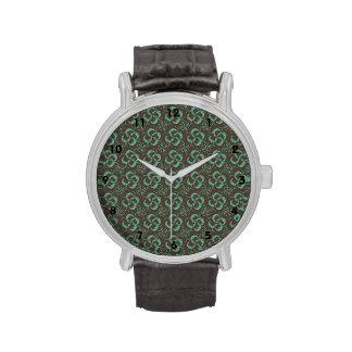 Estampado de flores de Brown y del trullo Reloj