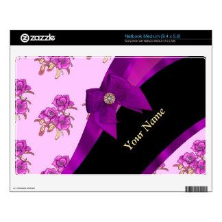 Estampado de flores de color de malva bonito del netbook mediano skins