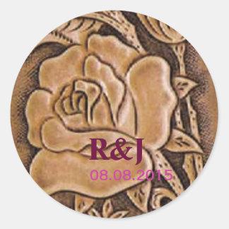 Estampado de flores de cuero equipado occidental etiqueta redonda