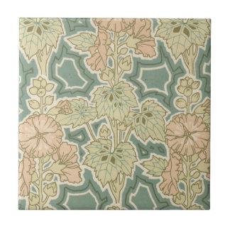 estampado de flores de la naturaleza del art déco  azulejo cuadrado pequeño