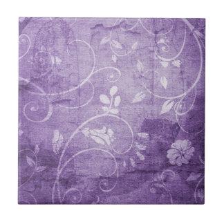 Estampado de flores de la púrpura del vintage azulejo cuadrado pequeño