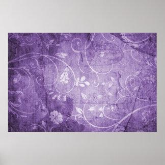 Estampado de flores de la púrpura del vintage póster