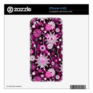 Estampado de flores de la tarjeta del día de San V iPhone 4S Calcomanía