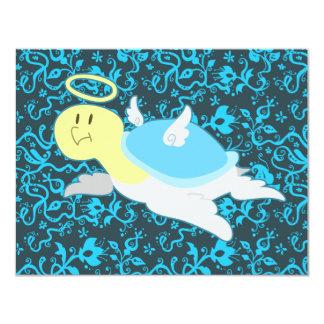 """Estampado de flores de la tortuga del ángel invitación 4.25"""" x 5.5"""""""