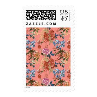 Estampado de flores de la zaraza del vintage en el timbres postales