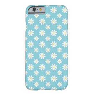 Estampado de flores de las margaritas de azules funda para iPhone 6 barely there