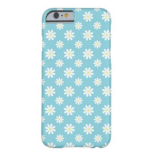 Estampado de flores de las margaritas de azules funda de iPhone 6 barely there