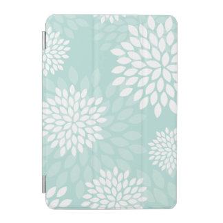 Estampado de flores de los crisantemos de la verde cubierta de iPad mini