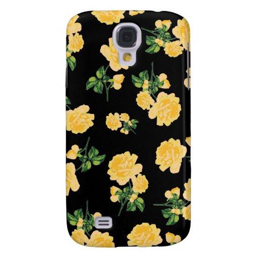 Estampado de flores de los rosas amarillos en negr