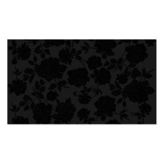 Estampado de flores de moda negro moderno elegante tarjetas de visita