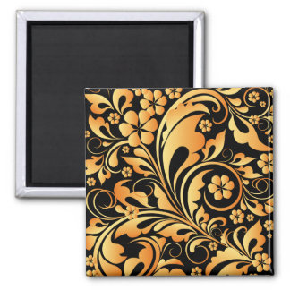 estampado de flores de oro imán cuadrado