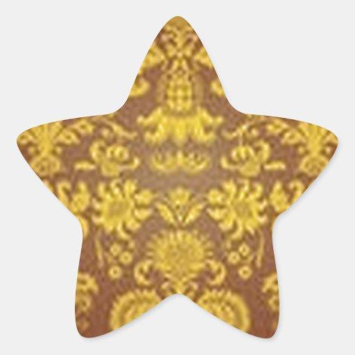Estampado de flores de oro pegatinas forma de estrellaes personalizadas