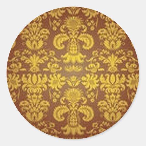 Estampado de flores de oro pegatina redonda