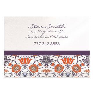 Estampado de flores de Swirly del naranja y de la Tarjetas De Visita Grandes