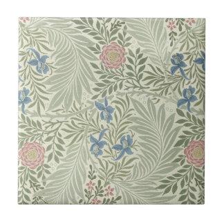 Estampado de flores de William Morris Larkspur Azulejo Cuadrado Pequeño