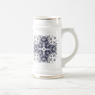 estampado de flores decorativo azul jarra de cerveza