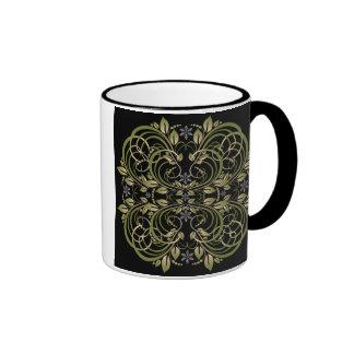 estampado de flores decorativo verde taza de dos colores
